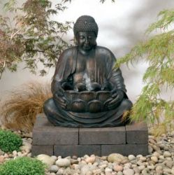 Smart Solar Buddha Water Feature with Light