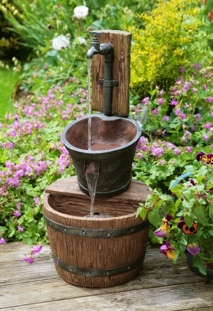 Iron Tap Bucket and Barrel Cascade Water Feature - H62cm