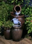 Redwell Honey Pot Two Tier Earthenware Cascade Water Feature and Planter with LED Lights