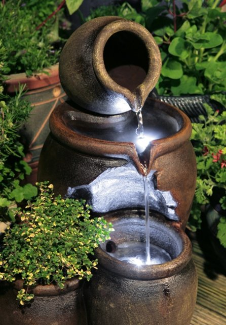 50cm Earthenware Honey Pot 3-Tier Water Feature and Planter with LED Lights by Ambienté™