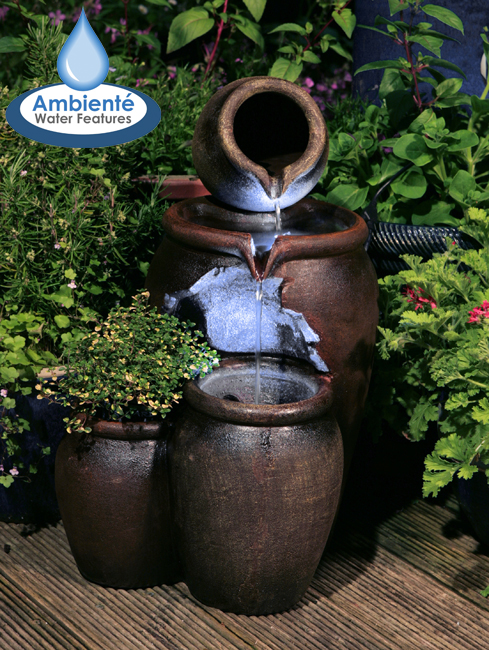 H50cm Earthenware 3-Tier Honey Pot Water Feature & Planter with Lights by Ambienté