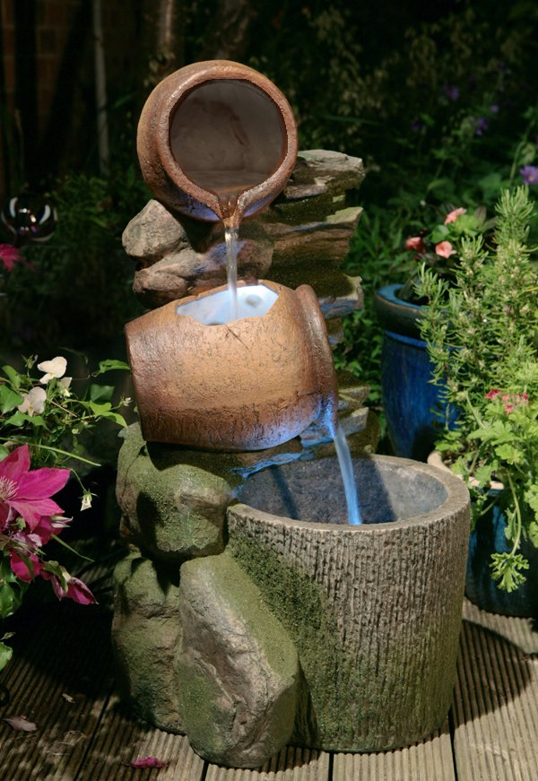 Cottage Honey Pots and Barrel Water Feature with LED Lights - H68cm
