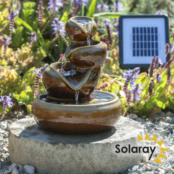 25cm Cosmos Solar Ceramic Oil Jar Three Tier Cascade Water Feature by Solaray™ in Brown