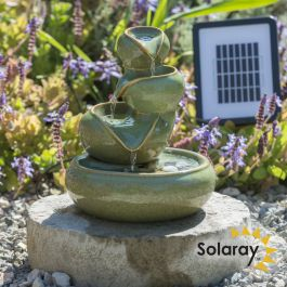 H25cm Cosmos Solar Oil Jar Ceramic Water Feature - Outdoor & Conservatory Use by Solaray