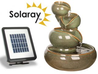 25cm Cosmos Solar Ceramic Oil Jar Three Tier Cascade Water Feature by Solaray™ in Green