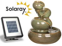 Cosmos Solar Ceramic Oil Jar Three Tier Cascade Water Feature by Solaray™ in Green