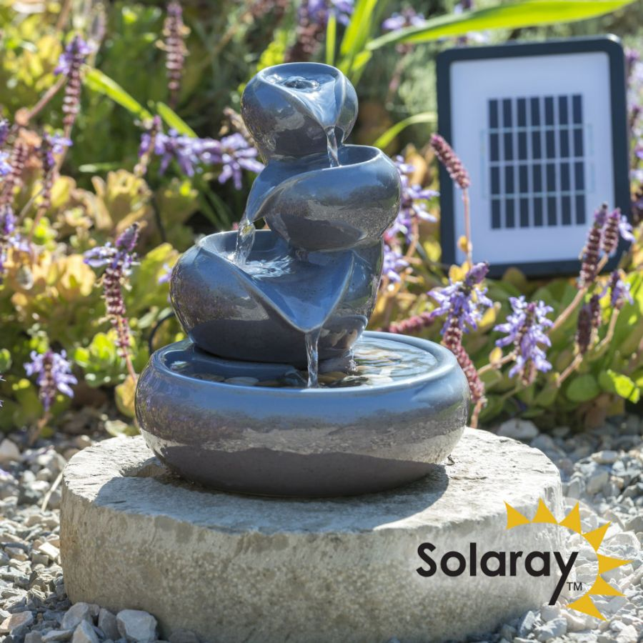25cm Cosmos Solar Ceramic Oil Jar Three Tier Cascade Water Feature by Solaray™