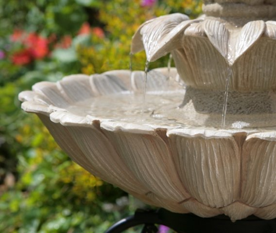 H77.5cm Fairfax Classical Two Tier Solar Fountain Water Feature by Solaray™