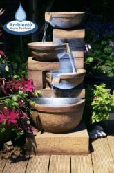 85cm Kendal Terracotta 4-Tier Cascade Water Feature with Lights by Ambienté™