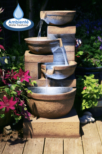 85cm Kendal Terracotta 3-Tier Cascade Water Feature with Lights by Ambienté™