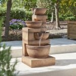 H86cm Kendal 4-Tier Cascade Water Feature with Lights by Ambienté