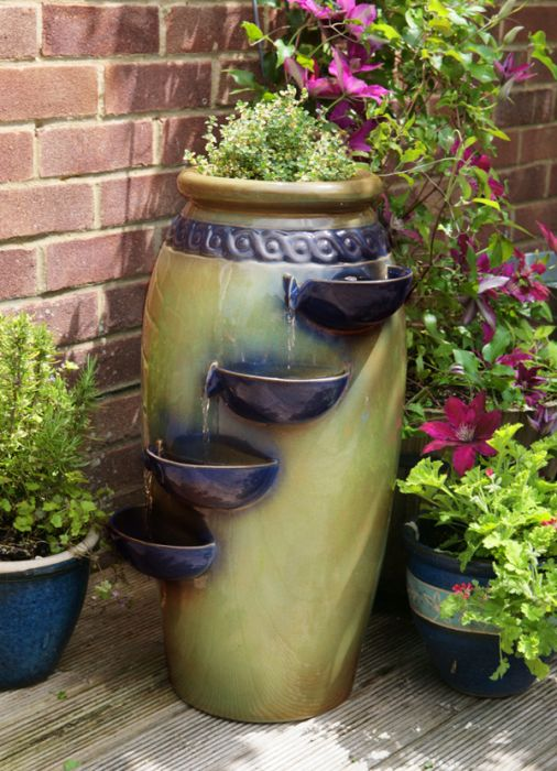 Dempsy Earthenware 4 Tier Cascade Water Feature and Planter by Ambienté™