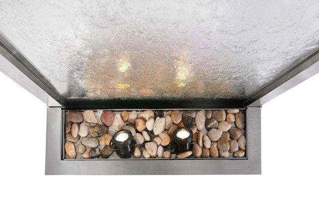 Silver Falls 1.74m Stainless Steel Water Wall Cascade with Glass Panel and Lights by Ambienté™
