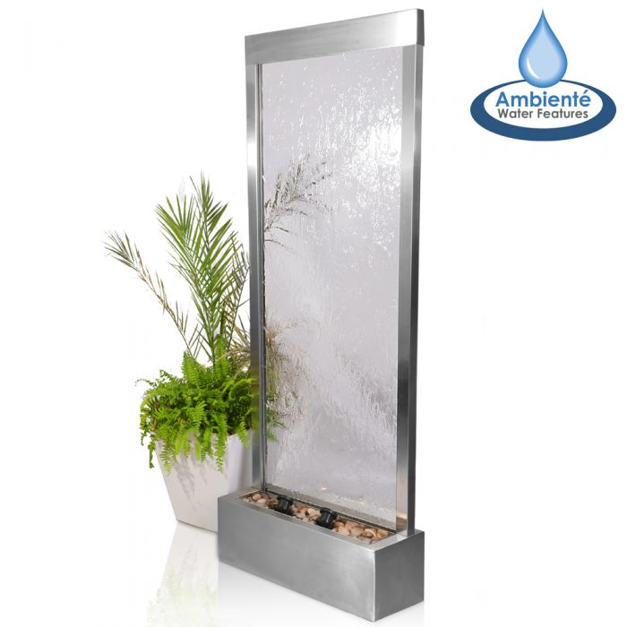 H173cm Silver Falls Stainless Steel Water Wall with Lights | Indoor/Outdoor Use by Ambienté
