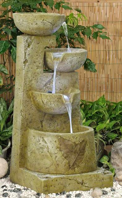 Four Bowls Leaf Design Water Feature with LED Lights H75cm