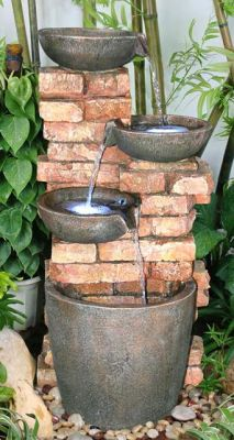 4 Tier Brick Wall Water Feature with LED Lights