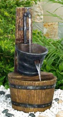 Tap on Post with Barrel Water Feature with LED Lighting
