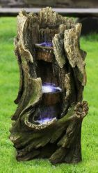 Three Tier Tree Trunk Water Feature with LED Lights H82cm