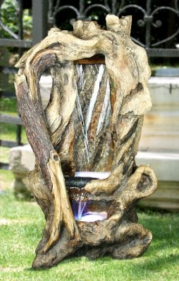 Hollow Tree Trunk Waterfall Water Feature with LED Lights