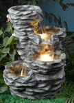 Offset Four Tier Stone Effect Water Feature with Low Voltage Lights
