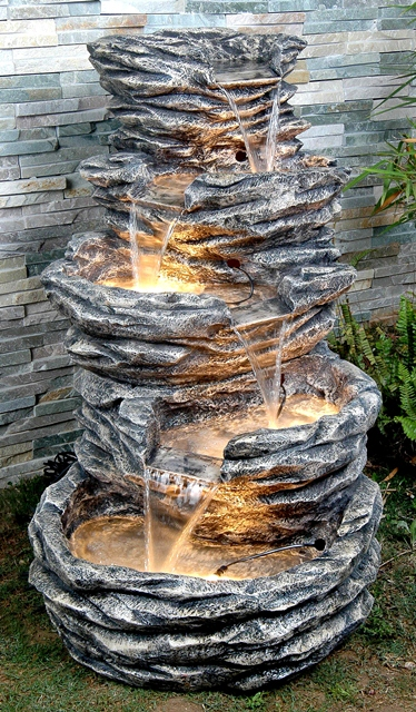 5 Tier Stone Effect Tiered Water Feature with Low Voltage Lights