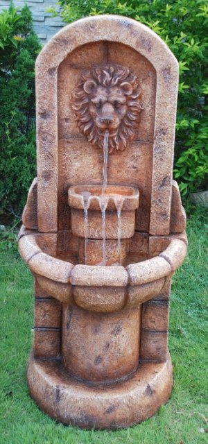 Medium Lion Head Twin Bowl Water Feature with Low Voltage Lights