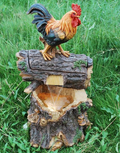 Rooster on Log Water Feature with Lights