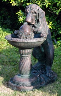 Dog at Fountain Water Feature H69cm