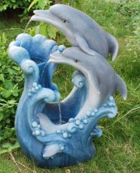 Large Twin Dolphin Water Feature with LED Lights