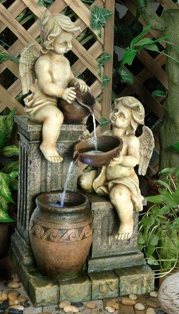 Two Angels with Spilling Urns 3 Tier Water Feature with LED Lighting