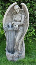 Stone Effect Angel Water Feature with LED Lights
