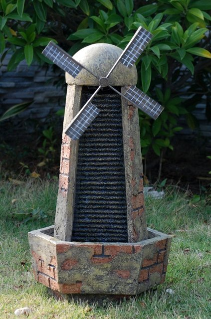 Brick Windmill Water Feature with LED Lights
