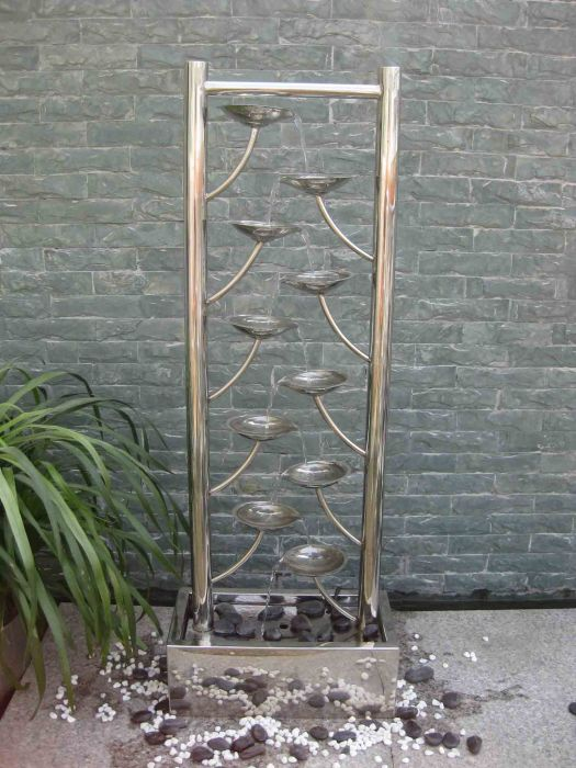 Santiago Stainless Steel Water Feature with LED Lights