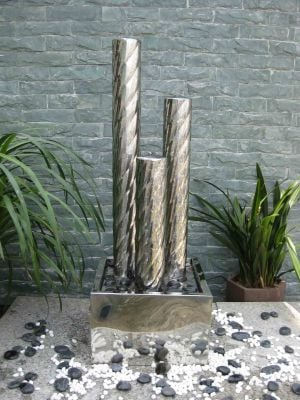 Minsk Stainless Steel 3 Cylinder Water Feature with LED Lights
