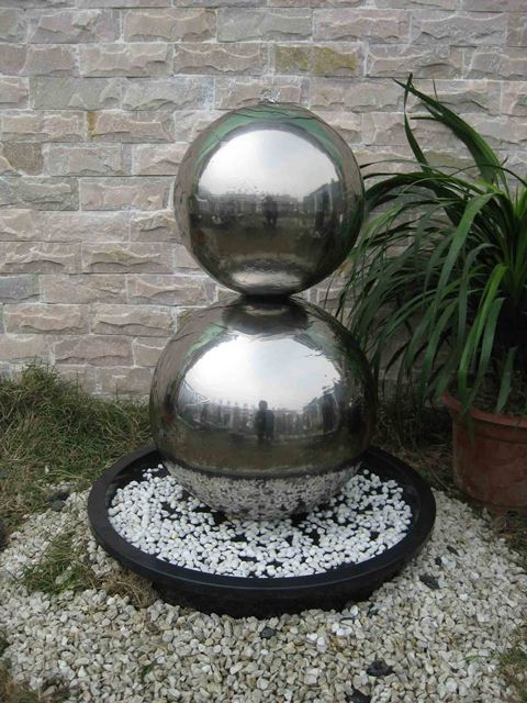 Hamburg 2 Sphere Stainless Steel Water Feature with LED Lights