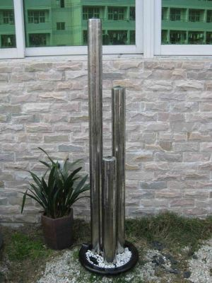 Belgrade 3 Cylinder Stainless Steel Water Feature with LED Lights