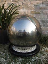 Ankara Stainless Steel Sphere Water Feature with LED Lights