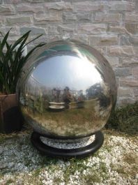 Berlin Stainless Steel Sphere Water Feature with LED Lights