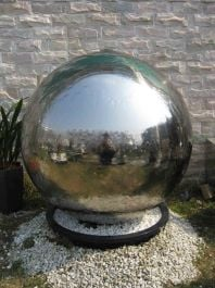 Lyon Stainless Steel Sphere Water Feature with LED Lights