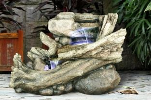 Driftwood River Cascade Water Feature with LED Lights