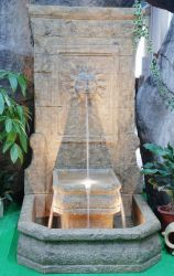 Sunface Stone Effect Fountain Water Feature with Low Voltage Lighting