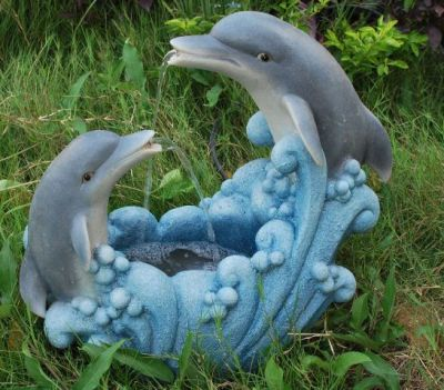 Medium Twin Dolphin Water Feature with LED Lights