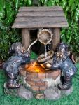 Two Gnomes at Wishing Well Water Feature with Low Voltage Lighting