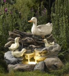 Duck Family on Wood and Rock Water Feature with LED Lights
