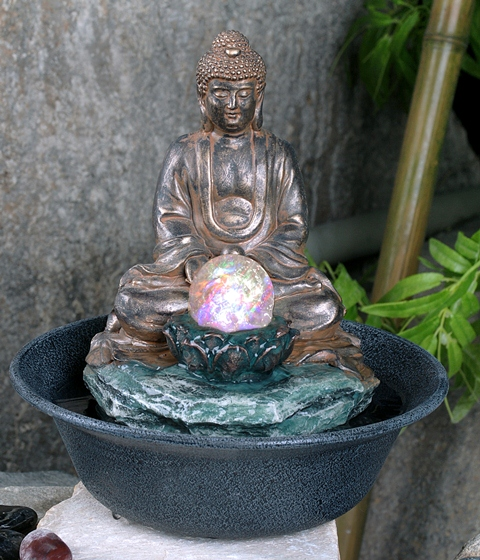 Buddha Crystal Sphere Water Feature with LED Lights