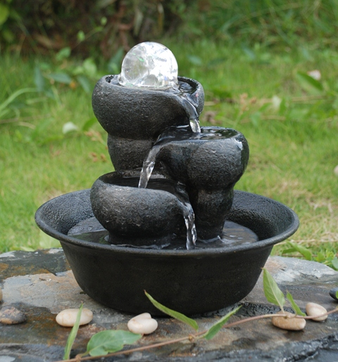 3 Bowls Crystal Sphere Water Feature with LED Lights