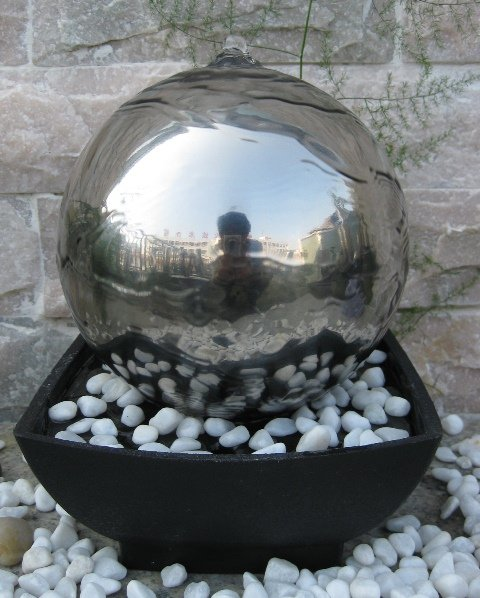 Auckland Stainless Steel Sphere Tabletop Water Feature
