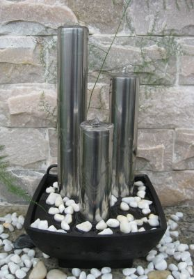 Alexandria Stainless Steel Columns Tabletop Water Feature