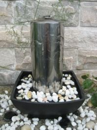 Akra Stainless Steel Column Tabletop Water Feature