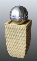 Berlin Oatmeal Rattan Stainless Steel Sphere Water Feature with LED Lights